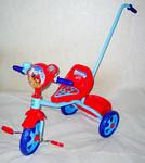 Велосипед трехколесный с ручкой Angry Birds , корзинка