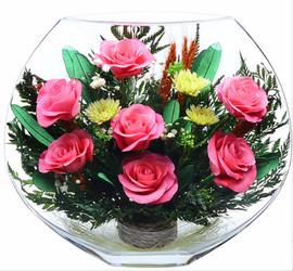 Розы в вакууме в плоской вазе 3