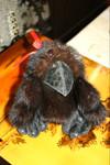Ворона - Игрушка из норки и кожи