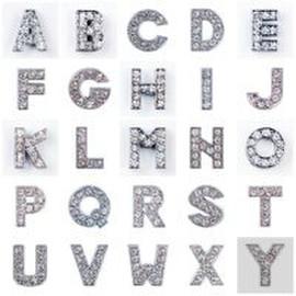 Опт. Буквы для именных браслетов с белыми и красными стразами