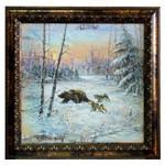 Картина маслом на бересте - Охота на медведя 72 х 72 см.