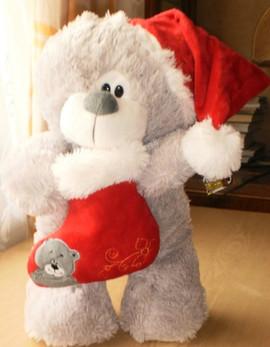 Мишка Санта Клаус с носочком, 35 см мягкая игрушка 2