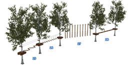 Веревочный парк на деревьях D2-16 7