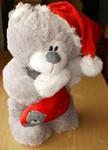 Мишка Санта Клаус с носочком, 35 см мягкая игрушка