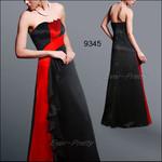 атласное яркое красно-черное платье 2 XL