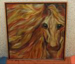 """Картина из шерсти """"Лошадь"""""""