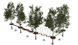 Веревочный парк на деревьях D2-16 8