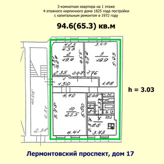 Two bedroom apartment of 94 sqm on the corner of Lermontov and Gunboats