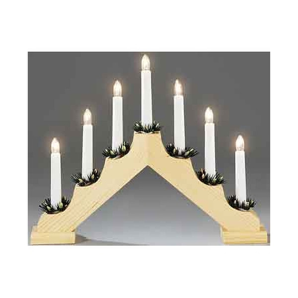 Konstsmide 7 Light Wooden Candlestick
