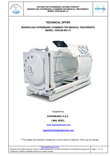 TECHNICAL OFFER  MONOPLACE HYPERBARIC CHAMBER FOR MEDICAL TREATMENTS MODEL: OXICAB MO-13