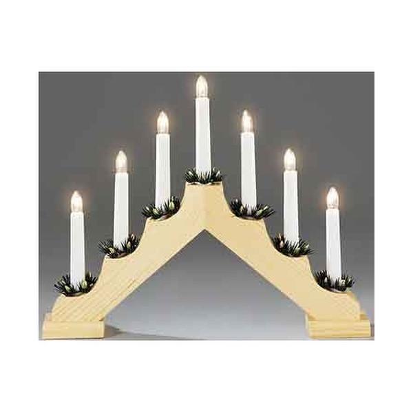 Konstsmide 7 Light Wooden Candlestick