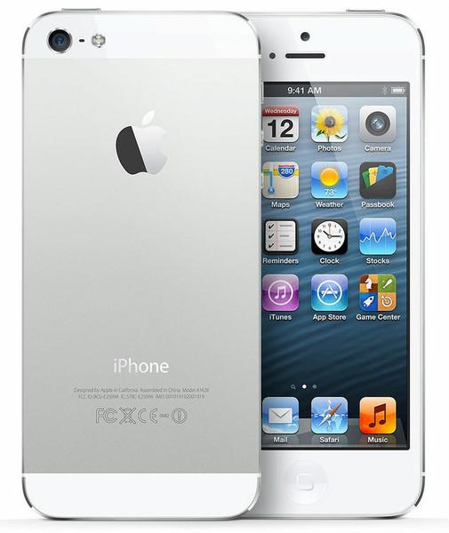 Apple iPhone 5 Одна SIM-карта 4G 16ГБ Cеребряный, Белый смартфон