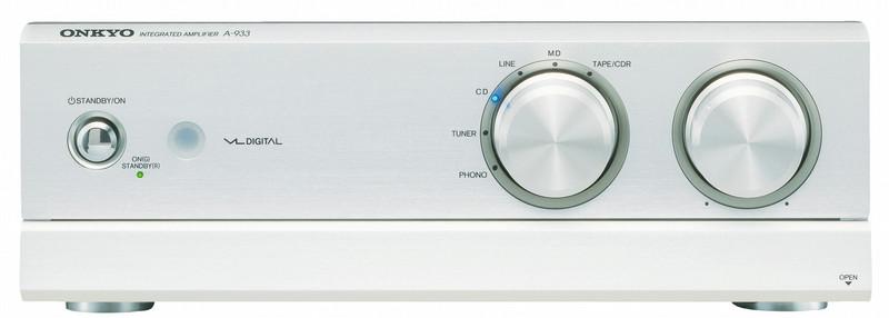 ONKYO A-933 2.0 Дома Проводная Cеребряный усилитель звуковой частоты