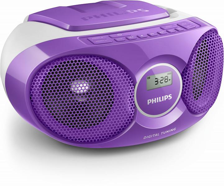 Philips AZ215V/12 3Вт Cеребряный, Фиолетовый домашний музыкальный центр