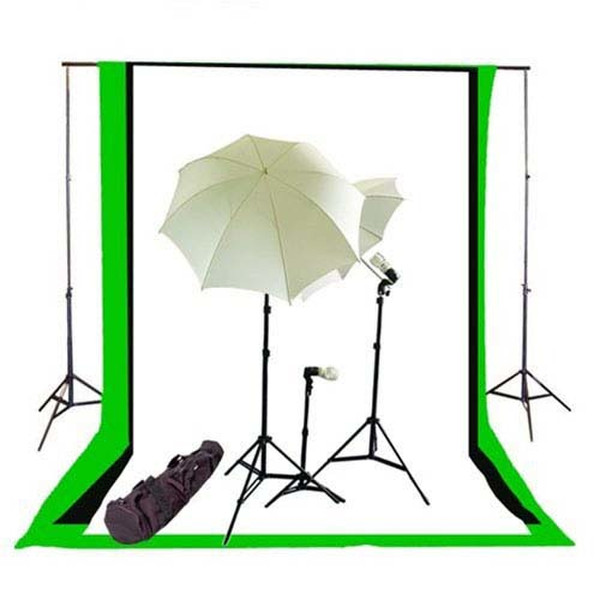 CowboyStudio Photo Studio Umbrella Continous Triple Lighting Kit, Background Support, 6'x9' Black & White Muslin Backdrops